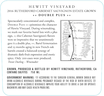 2016 Hewitt Vineyard Double Plus Rutherford Cabernet Sauvignon Back Label, image 3