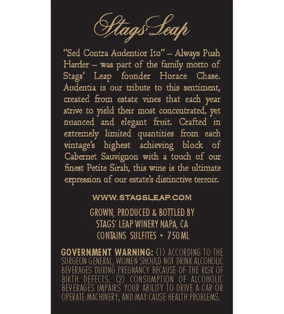 2012 Stags' Leap Audentia Estate Grown Napa Valley Cabernet Sauvignon Back Label