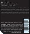 2016 Sterling Vineyards Reserve Calistoga Cabernet Franc Back Label