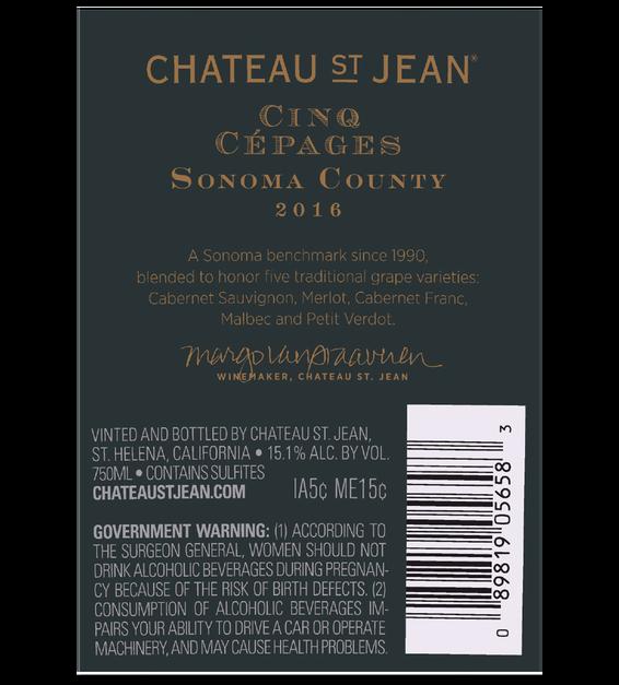 2016 Chateau St. Jean Cinq Cepages Back Label