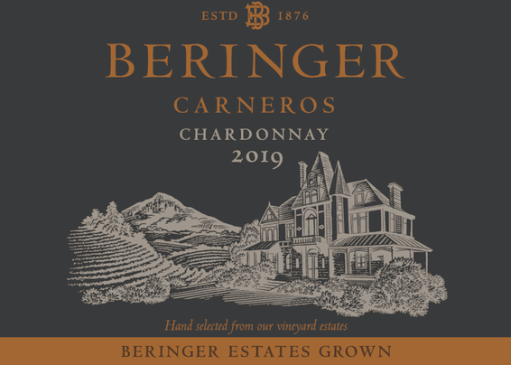 2019 Beringer Winery Exclusive Carneros Chardonnay Front Label