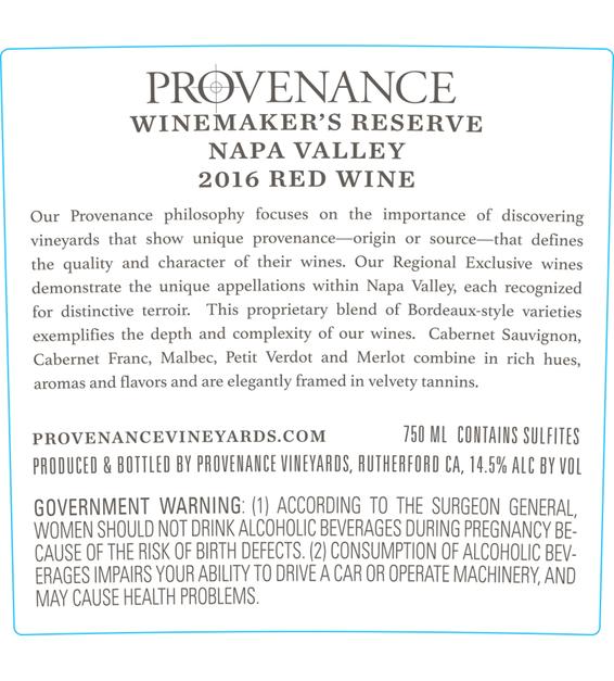 2016 Provenance Vineyards Winemakers Reserve Napa Valley Red Blend Back Label
