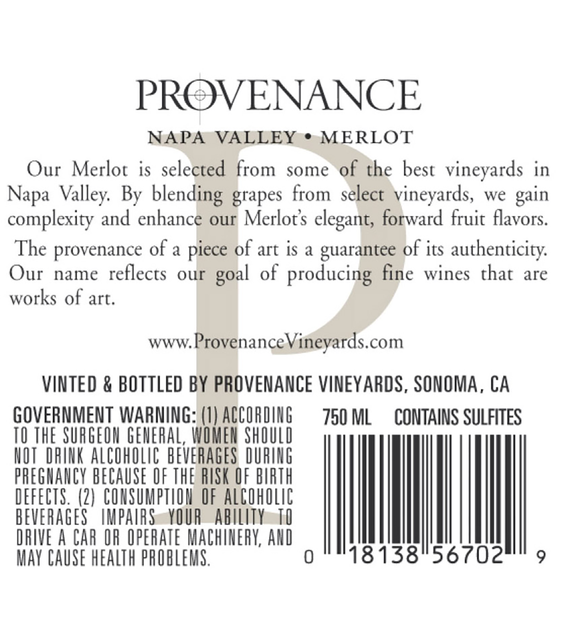 2016 Provenance Vineyards Napa Valley Merlot Back Label