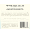 2015 Beringer Steinhauer Ranch Howell Mountain Cabernet Sauvignon Back Label, image 3