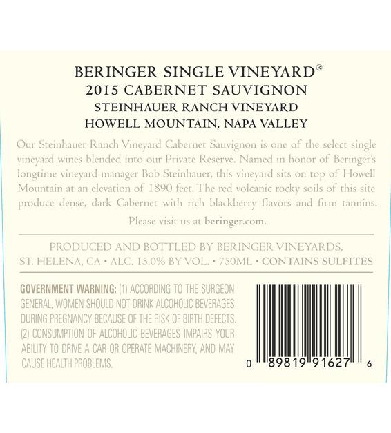 2015 Beringer Steinhauer Ranch Howell Mountain Cabernet Sauvignon Back Label
