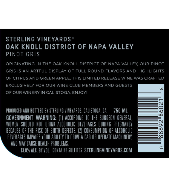 2017 Sterling Vineyards Oak Knoll Pinot Gris Back Label
