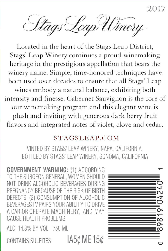 2017 Stags' Leap Cabernet Back Label