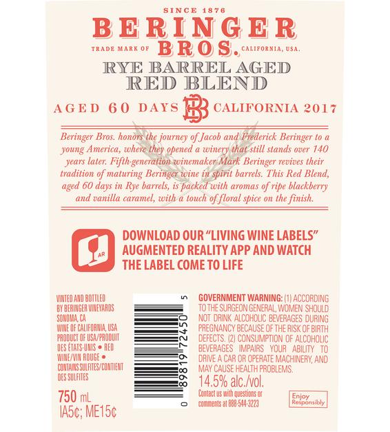 2017 Beringer Brothers Rye Barrel Aged Red Blend