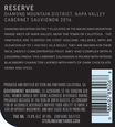 2016 Sterling Vineyards Diamond Mountain District Napa Valley Cabernet Sauvignon Back Label, image 3