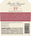 2016 Beaulieu Vineyard Tapestry Reserve Red Blend Back Label, image 3