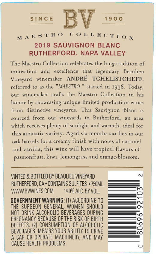 2019 Beaulieu Vineyard Maestro Rutherford Sauvignon Blanc Back Label