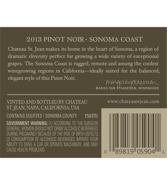 2013 Chateau St. Jean Sonoma Coast Pinot Noir Back Label