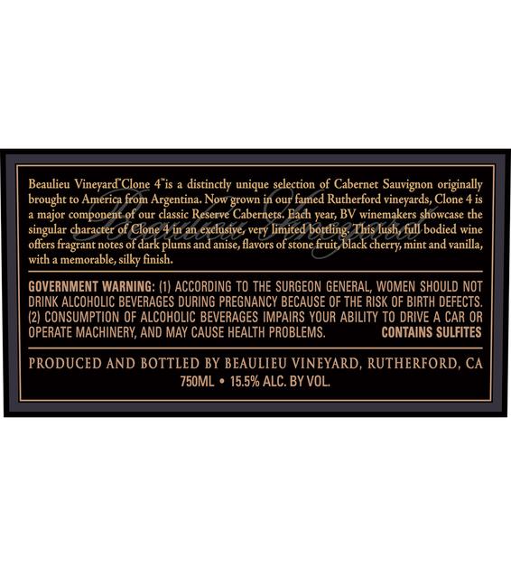 2014 Beaulieu Vineyard Reserve Clone 4 Rutherford Cabernet Sauvignon Back Label
