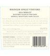2016 Beringer Bancroft Ranch Howell Mountain Merlot Back Label, image 2