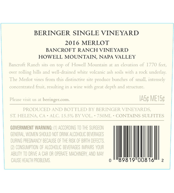 2016 Beringer Bancroft Ranch Howell Mountain Merlot Back Label