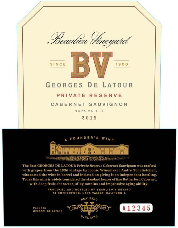 2018 Beaulieu Vineyard Private Reserve Georges de Latour Napa Valley Cabernet Sauvignon Front Label