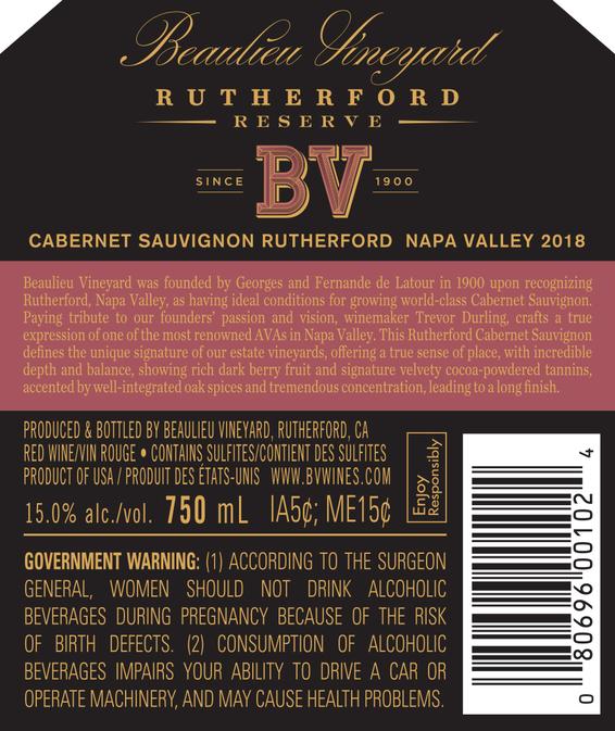2018 Rutherford Reserve Cabernet Sauvignon Back Label