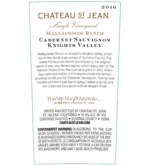 2016 Chateau St. Jean Mallacomes Vineyard Knights Valley Cabernet Sauvignon Back Label