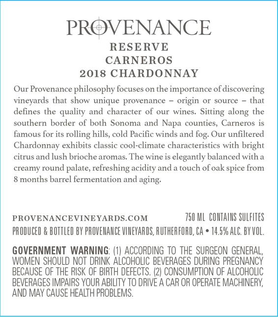 2018 Provenance Reserve Carneros Chardonnay Front Label