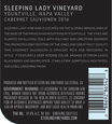 2016 Sterling Vineyards Sleeping Lady Vineyard Yountville Cabernet Sauvignon Back Label