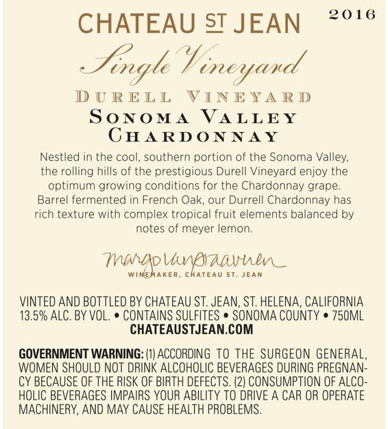 2016 Chateau St. Jean Durell Vineyard Sonoma Valley Chardonnay Back Label