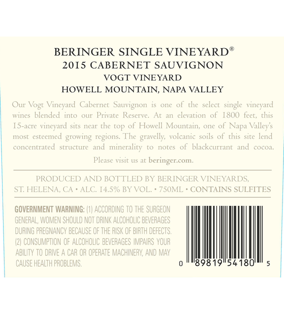 2015 Beringer Vogt Vineyard Howell Mountain Cabernet Sauvignon Back Label