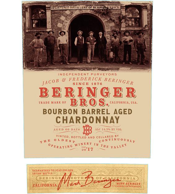 2017 Beringer Brothers Bourbon Barrel Aged Chardonnay Back Label
