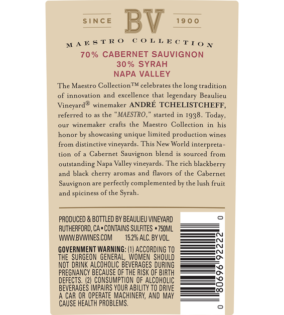 2015 Beaulieu Vineyard Maestro Reserve Napa Valley Cab/Syrah Blend Back Label