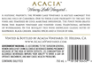 2015 Acacia Winery Lake Vineyard Napa Valley Carneros Pinot Noir Back Label, image 3