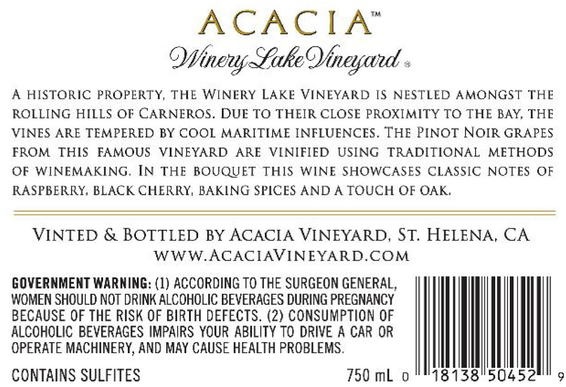 2015 Acacia Winery Lake Vineyard Napa Valley Carneros Pinot Noir Back Label