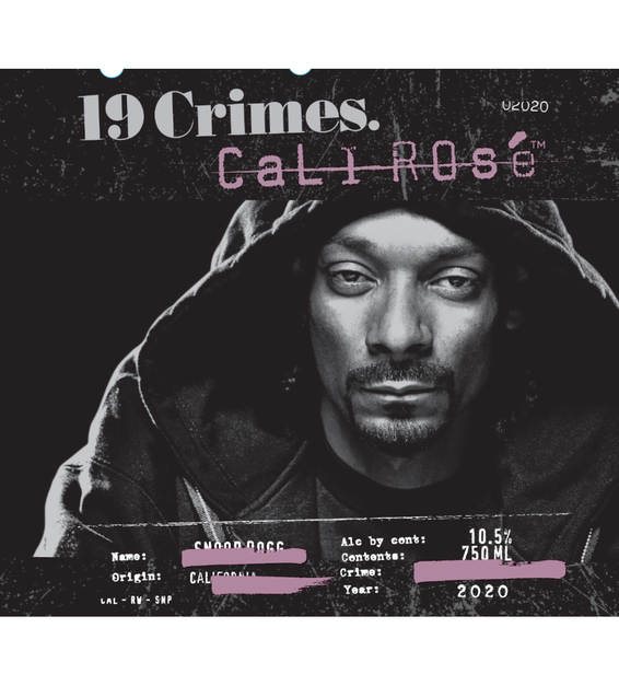 2020 19 Crimes Snoop Dogg Cali Rose label