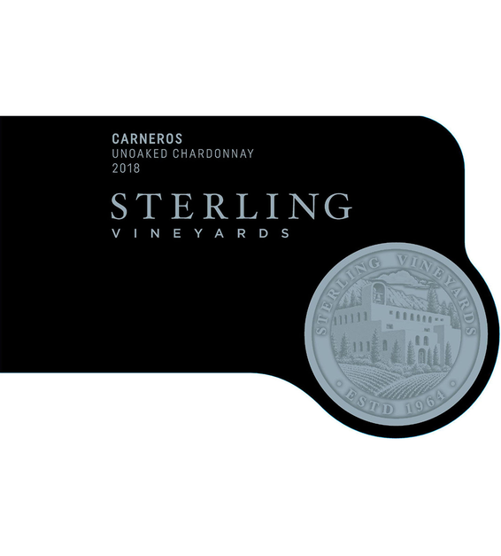 2018 Sterling Vineyards Unoaked Carneros Chardonnay Front Label