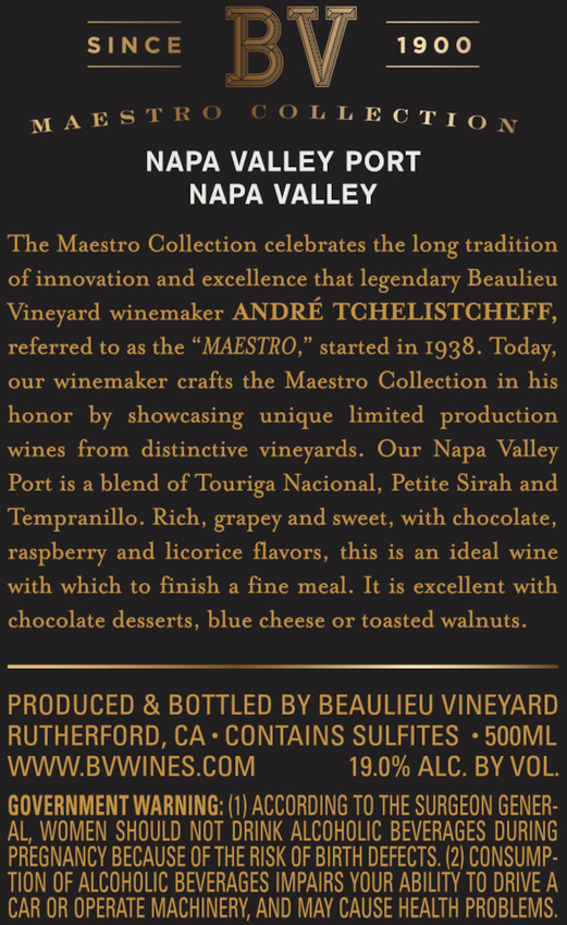 2016 Beaulieu Vineyard Maestro Port Back Label