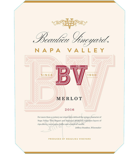 2016 Beaulieu Vineyard Napa Valley Merlot Front Label