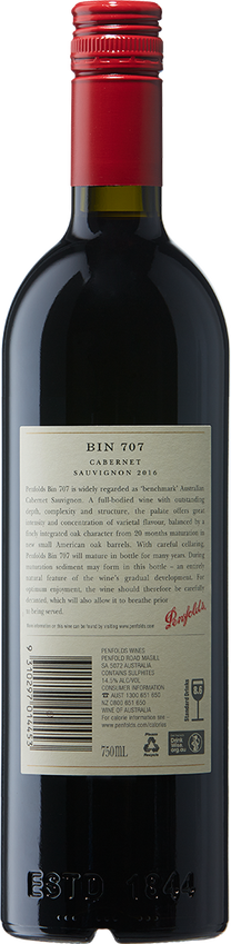 2016 Penfolds Bin 707 Cabernet Sauvignon Back