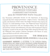 2016 Provenance Vineyards Wildwood Vineyard Rutherford Cabernet Sauvignon Back Label, image 3