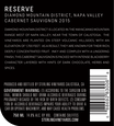 2015 Sterling Vineyards Diamond Mountain District Napa Valley Cabernet Sauvignon Back Label, image 2