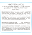 2016 Provenance Vineyards Armstrong Ranch Vineyard Diamond Mountain Cabernet Sauvignon Back Label