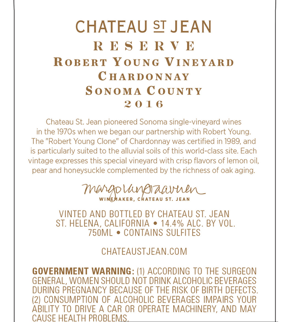 2016 Chateau St. Jean Robert Young Vineyard Reserve Alexander Valley Chardonnay Back Label