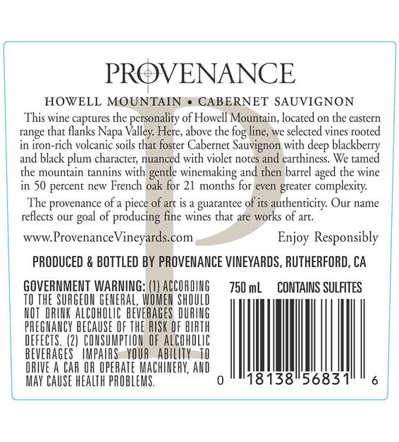 2014 Provenance Vineyards Howell Mountain Cabernet Sauvignon Back Label