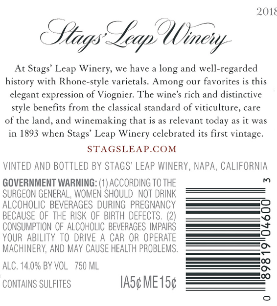2018 Stags' Leap Napa Valley Viognier Back Label