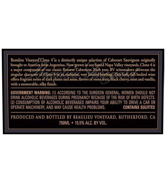 2015 Beaulieu Vineyard Reserve Clone 4 Rutherford Cabernet Sauvignon Back Label