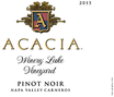 2015 Acacia Winery Lake Vineyard Napa Valley Carneros Pinot Noir Front Label, image 2