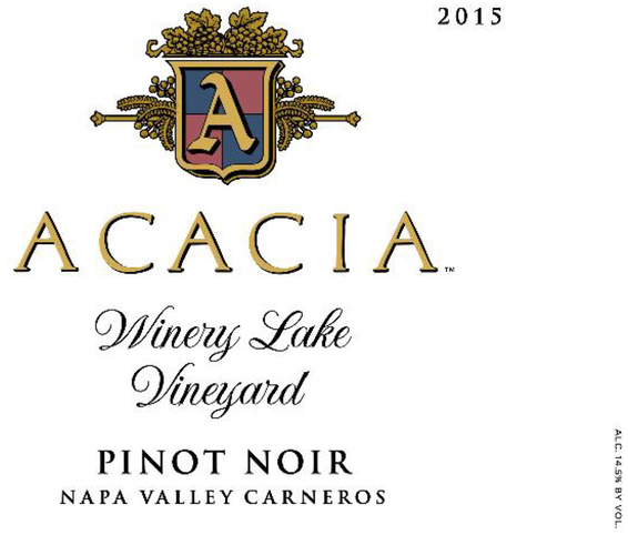 2015 Acacia Winery Lake Vineyard Napa Valley Carneros Pinot Noir Front Label