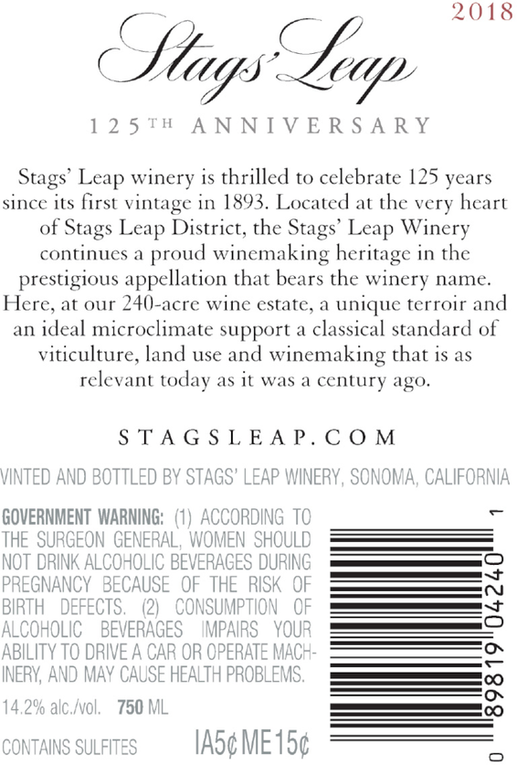 2018 Stags' Leap 125th Anniversary Napa Valley Cabernet Back Label