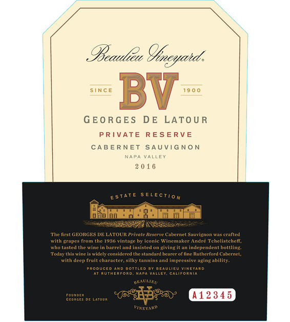 2016 Beaulieu Vineyard Georges de Latour Private Reserve Napa Valley Cabernet Sauvignon Front Label